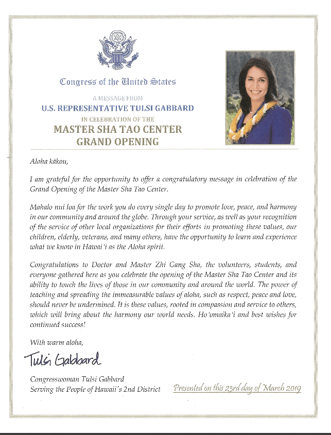 Certificate of Special Congressional Recognition Master Sha